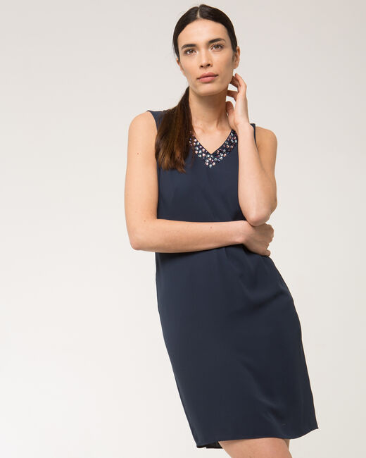 Felicie blue dress with diamanté neckline (2) - 1-2-3