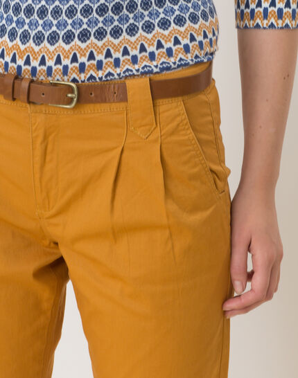 Diane tapered ochre trousers with belt (4) - 1-2-3