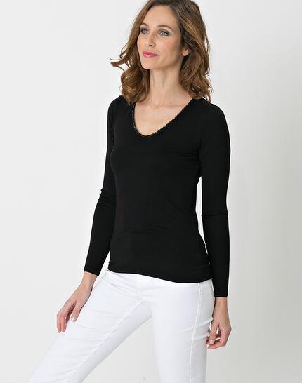 Lyubia black V-neck T-shirt adorned with Swarovski crystals (3) - 1-2-3
