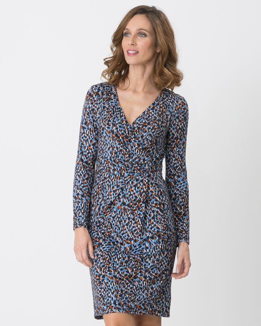 Robe bleue imprimée animalier Bermude (2) - 1-2-3