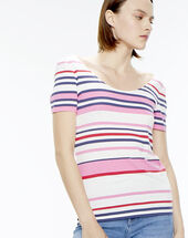 Noemie red striped t-shirt crimson.