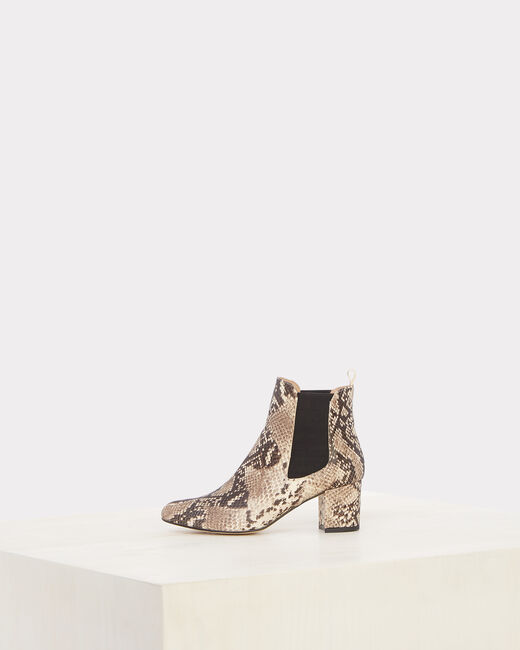 Nola snake skin effect leather ankle boots (2) - 1-2-3