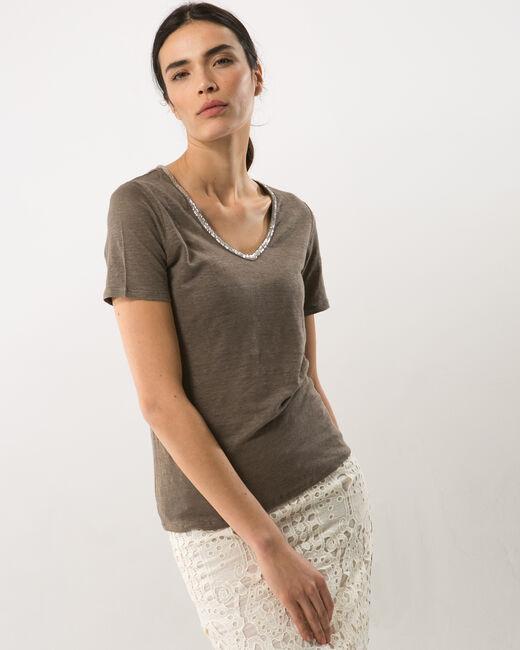 Tee-shirt kaki col perles Nice (1) - 1-2-3