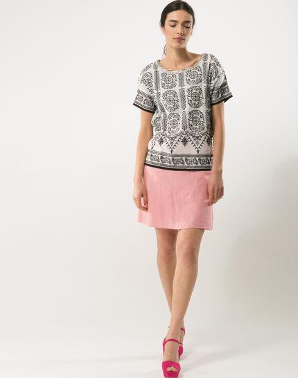 Clairon short pink linen skirt (4) - 1-2-3
