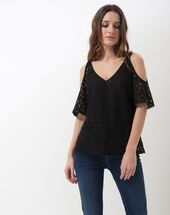 Effie black off-the-shoulder top black.