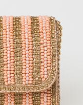 Paloma powder pink beaded clutch bag powder.
