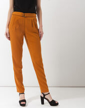 Douguy ochre tapered cut trousers ochre.