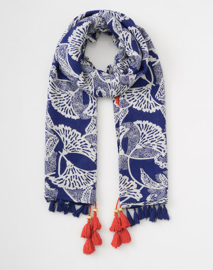 Stacy midnight blue scarf with a floral print (2) - 1-2-3