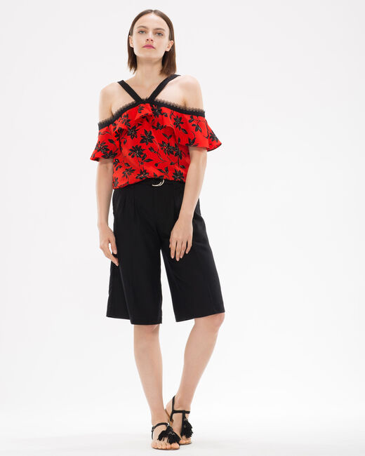 Elixir red top with floral print and an off-the-shoulder cut (2) - 1-2-3