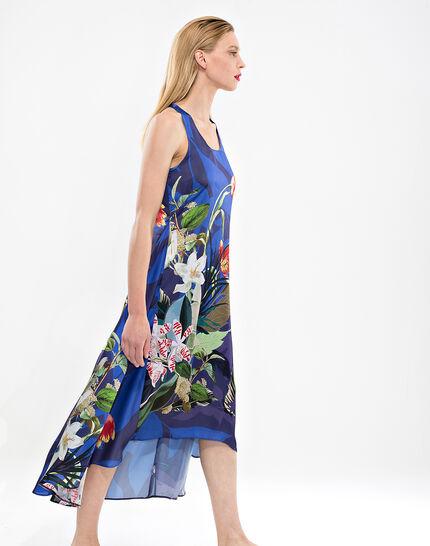 Robe longue bleue imprimé fleuri Béline (3) - 1-2-3