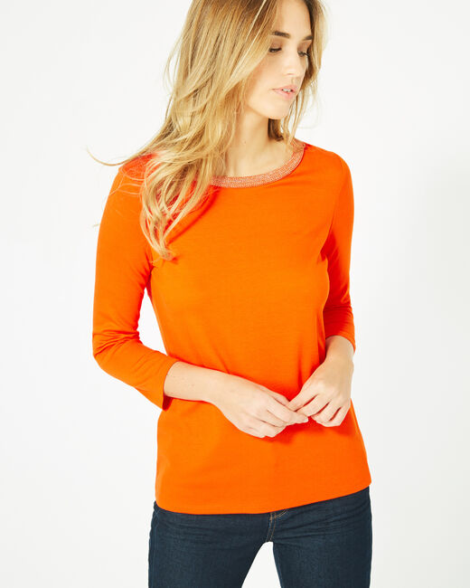 Tee-shirt orange manches 3/4 col rond Billy (2) - 1-2-3