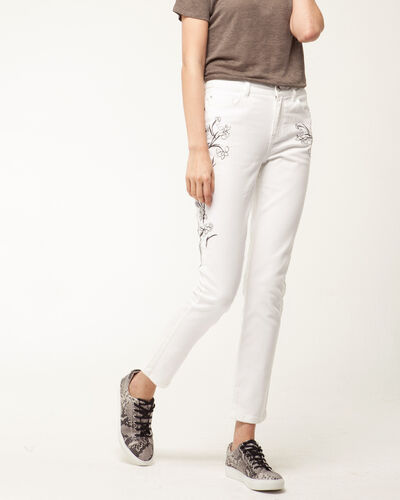 Xilia embroidered cream 7/8 length jeans (1) - 1-2-3
