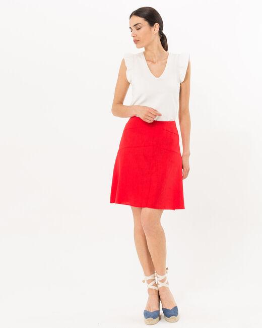 Jupe courte rouge en lin Clairon (1) - 1-2-3