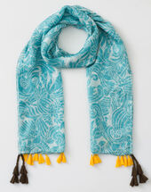 Scarlett turquoise silk printed scarf turquoise.