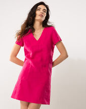 Bisou fuchsia linen dress dark fuchsia.