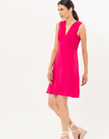 Bonbon fuchsia linen dress (2) - 1-2-3