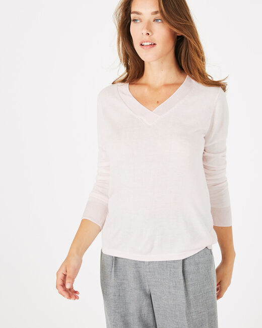 Pépite powder pink V-neck sweater (2) - 1-2-3