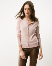 Happiness powder pink cardigan with round collar light pink.