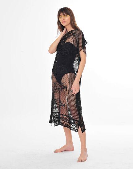 Sophie short black lace kaftan for the beach (4) - 1-2-3