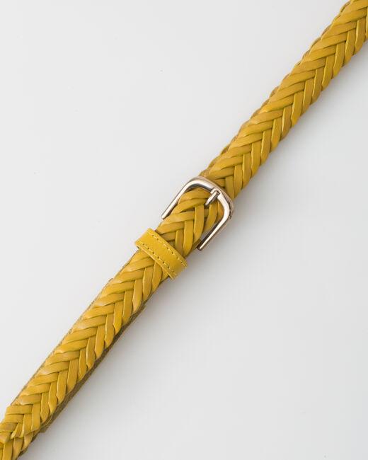 Ceinture tressée jaune en cuir Yoyo (2) - 1-2-3