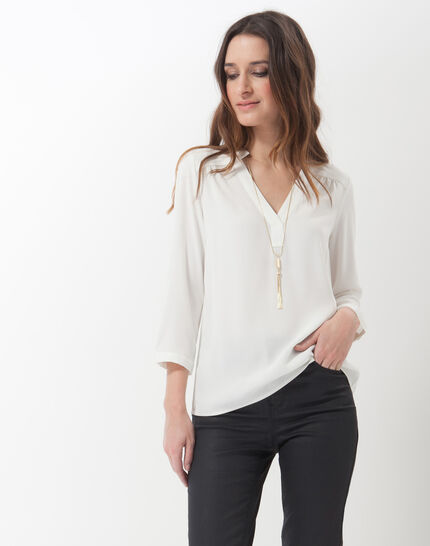 Fabien ecru blouse with necklace PhotoZ | 1-2-3