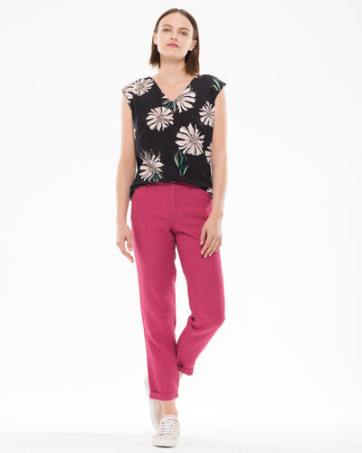 Pantalon fuchsia 7/8ème en lin Dorian (2) - 1-2-3
