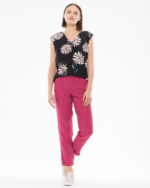 Pantalon fuchsia 7/8ème en lin Dorian (1) - 1-2-3