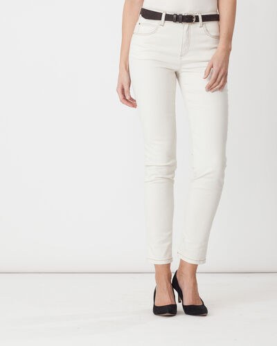 Xandrea 7/8 length cream trousers with belt (1) - 1-2-3