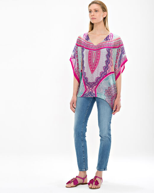 Azurella fuchsia printed tunic with a poncho effect (2) - 1-2-3