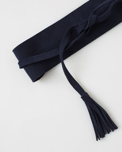 Yahan navy blue velour tie belt (2) - 1-2-3