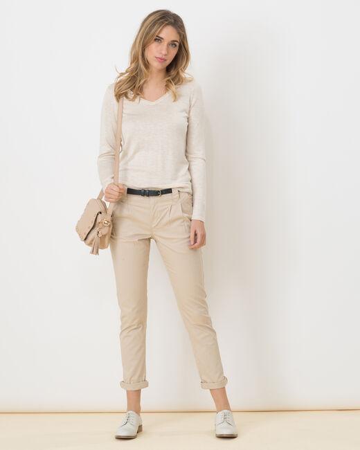 Pantalon carotte beige avec ceinture Diane (1) - 1-2-3