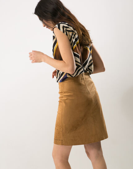 Deco perforated camel skirt (3) - 1-2-3