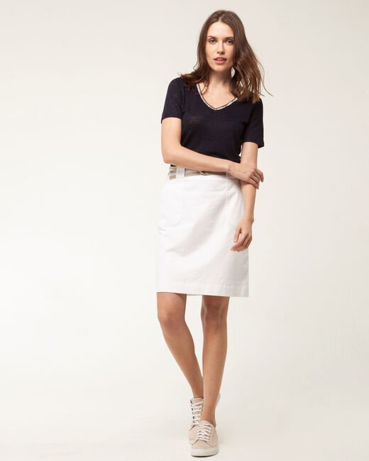 Camille belted white straight-cut skirt (1) - 1-2-3