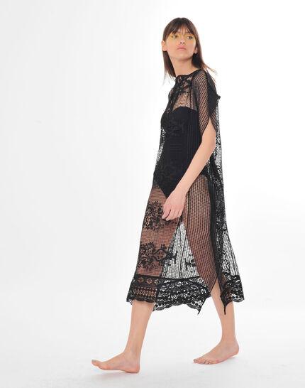 Sophie short black lace kaftan for the beach (6) - 1-2-3
