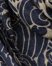 Scarlett silk printed scarf navy.