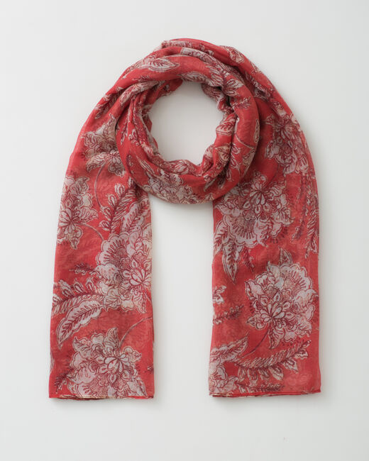 Foulard framboise imprimé floral Selia (1) - 1-2-3