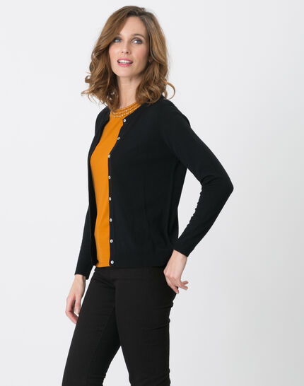Happiness black cardigan with round collar (3) - 1-2-3