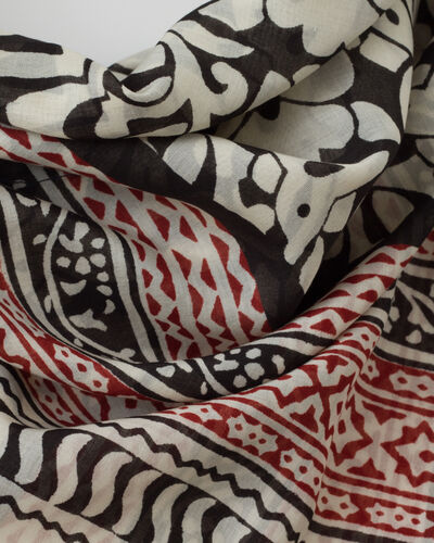 Silly red printed scarf in cotton (2) - 1-2-3