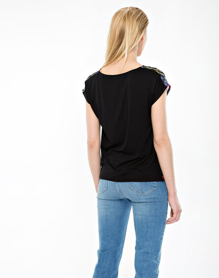 Nima black T-shirt with floral print (4) - 1-2-3