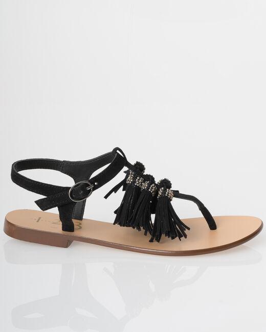 Julia black flat sandals with pompoms (1) - 1-2-3