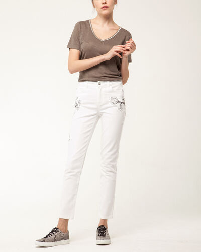 Xilia embroidered cream 7/8 length jeans (2) - 1-2-3