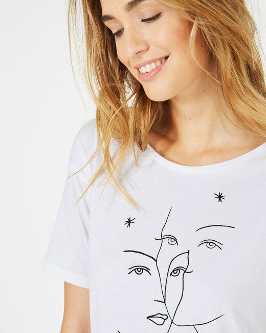 Tee-shirt blanc imprimé visages Binome (2) - 1-2-3