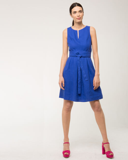 Okapi royal blue linen dress with belt (1) - 1-2-3