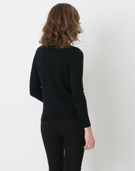 Happiness black cardigan with round collar (4) - 1-2-3