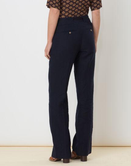 Dolly wide-cut navy blue linen trousers (4) - 1-2-3