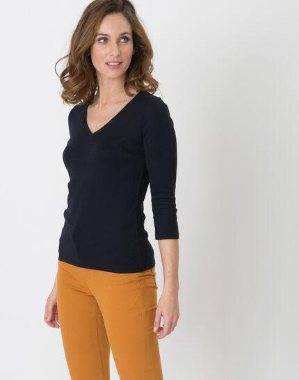 Noria navy blue T-shirt with embroidered neckline (3) - 1-2-3