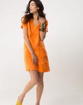 Bisou orange linen dress orange.