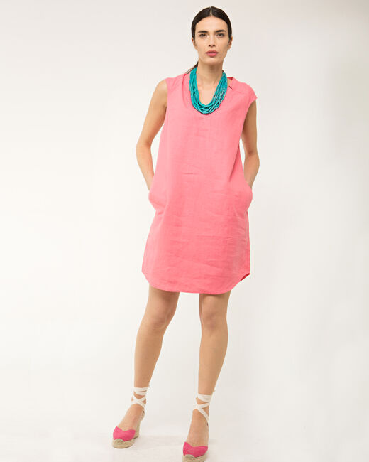 Robe rose en lin Bellini (1) - 1-2-3