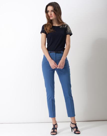 Pauline smart blue trousers with belt (2) - 1-2-3