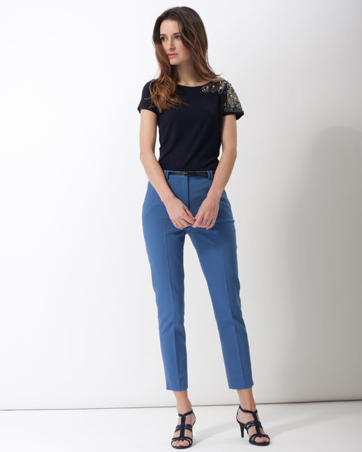 Pauline smart blue trousers with belt (1) - 1-2-3